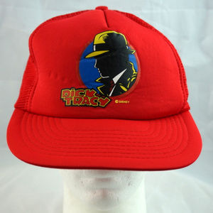 Disney Accessories - Dick Tracy VTG Disney Snapback Hat Adult OSFA Red